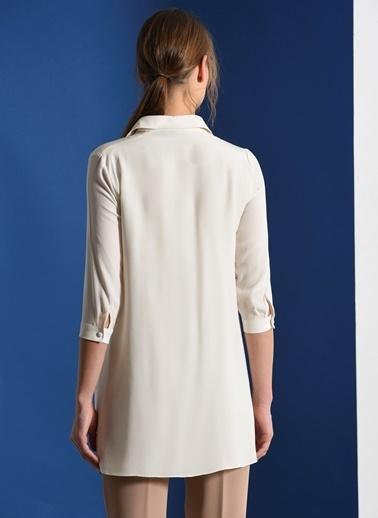 Zeynep Ökmen Çift Renkli Gömlek Elbise Beyaz